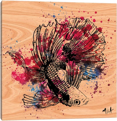 Color Fish, Wood Canvas Art Print