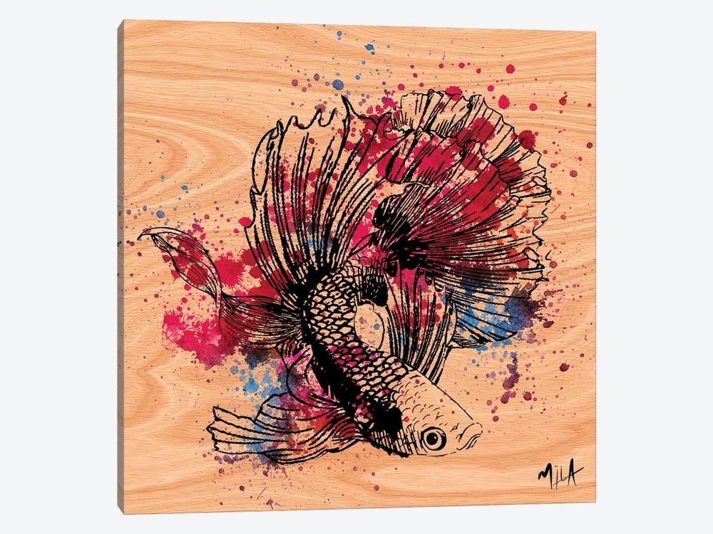 Color Fish, Wood by Julie Mila-Bouffard 1-piece Canvas Art Print