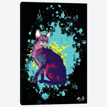 CrazyCat Canvas Print #JMB3} by Julie Mila-Bouffard Canvas Art