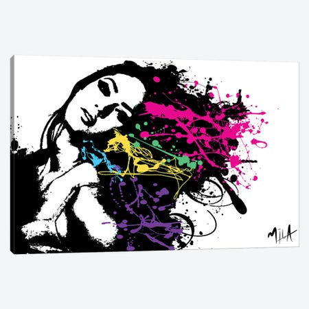 Funky Hair Canvas Print #JMB4} by Julie Mila-Bouffard Art Print