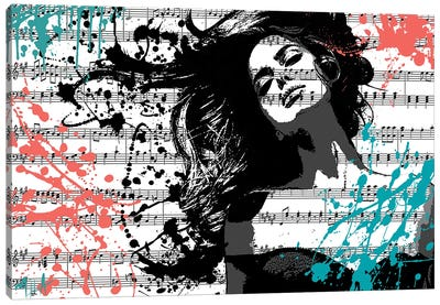 The Music In Me, White Canvas Art Print