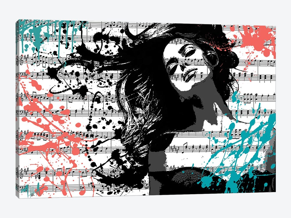 The Music In Me, White by Julie-Mila Bouffard 1-piece Art Print
