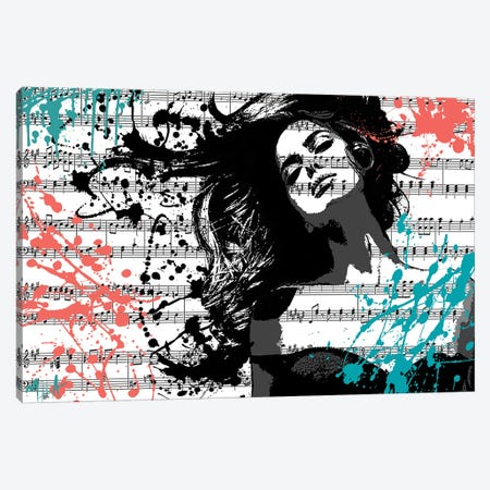 The Music In Me, White Canvas Print #JMB8} by Julie Mila-Bouffard Canvas Art