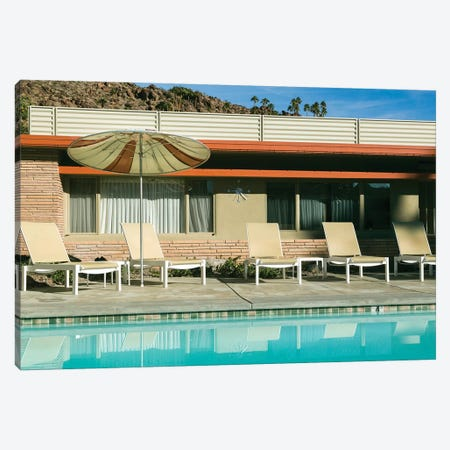 Poolside at a motel. Palm Springs, California, USA. Canvas Print #JMC17} by Julien McRoberts Canvas Artwork