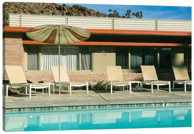 Poolside at a motel. Palm Springs, California, USA. Canvas Art Print