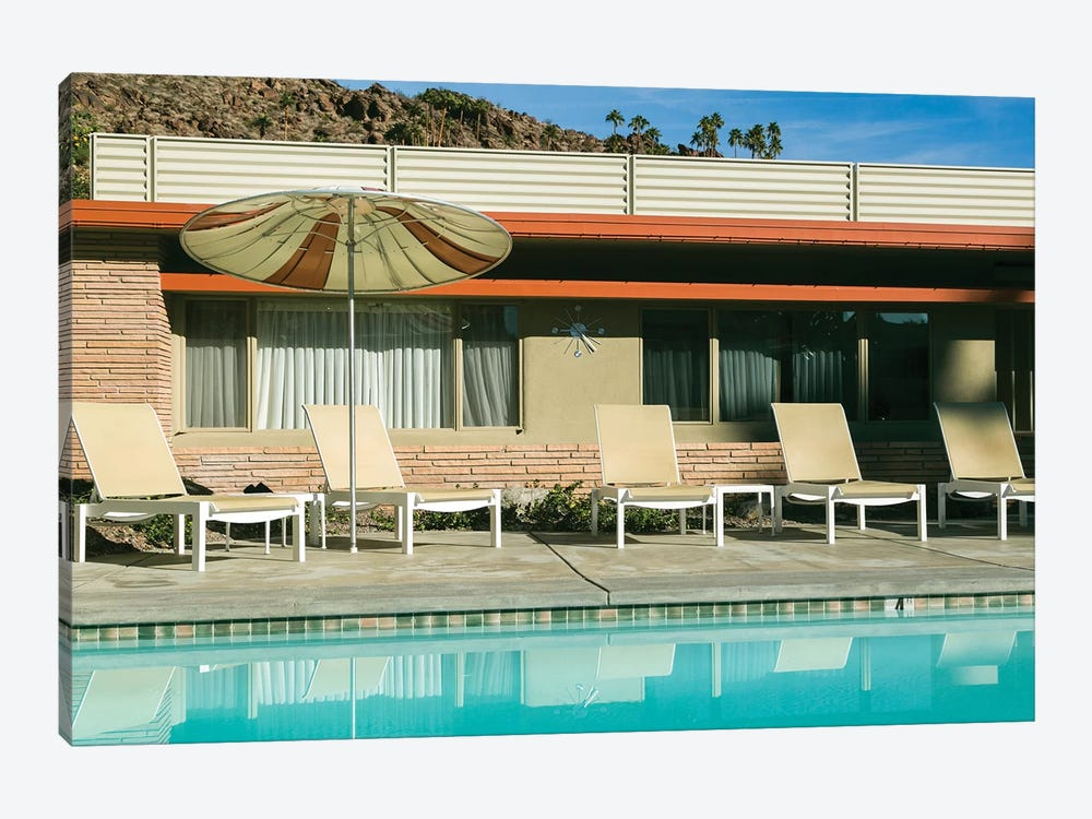Poolside at a motel. Palm Springs, California, USA. by Julien McRoberts 1-piece Canvas Wall Art
