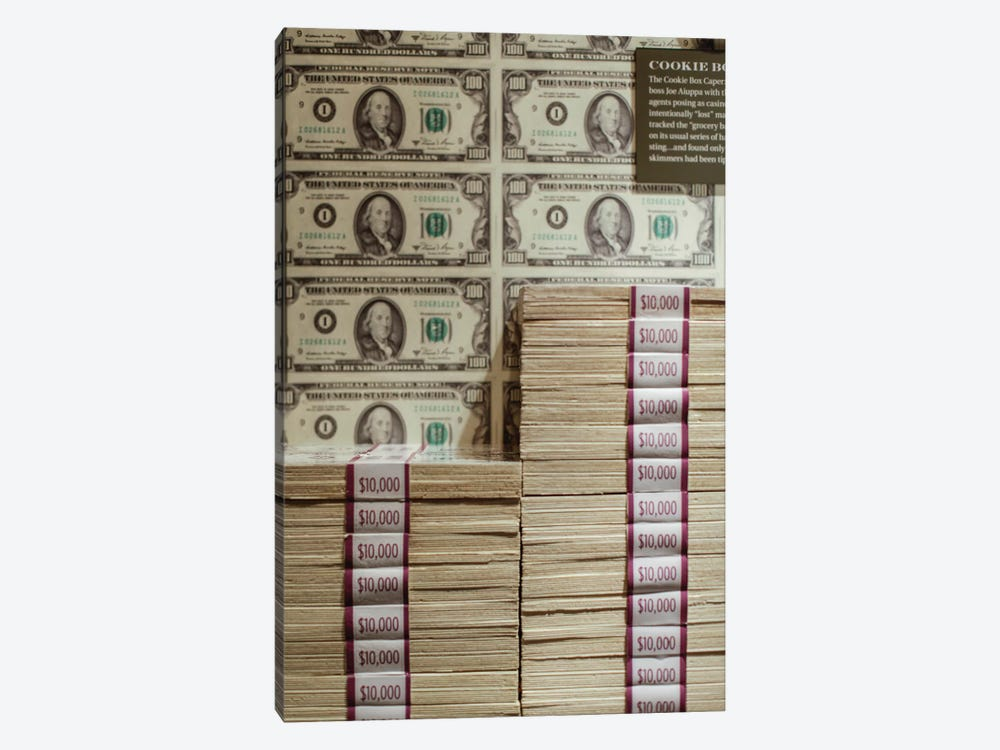 Prints of money at the Mob Museum, Las Vegas, Nevada. USA by Julien McRoberts 1-piece Canvas Print