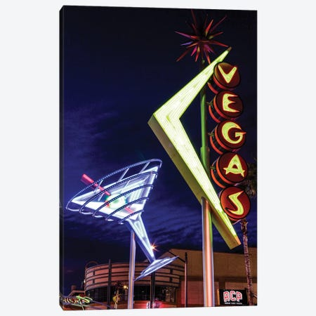 Neon Martini Glass And Vegas Signs At Night, Fremont East Entertainment District, Las Vegas, Nevada, USA Canvas Print #JMC1} by Julien McRoberts Canvas Print