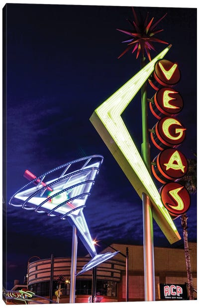 Neon Martini Glass And Vegas Signs At Night, Fremont East Entertainment District, Las Vegas, Nevada, USA Canvas Art Print