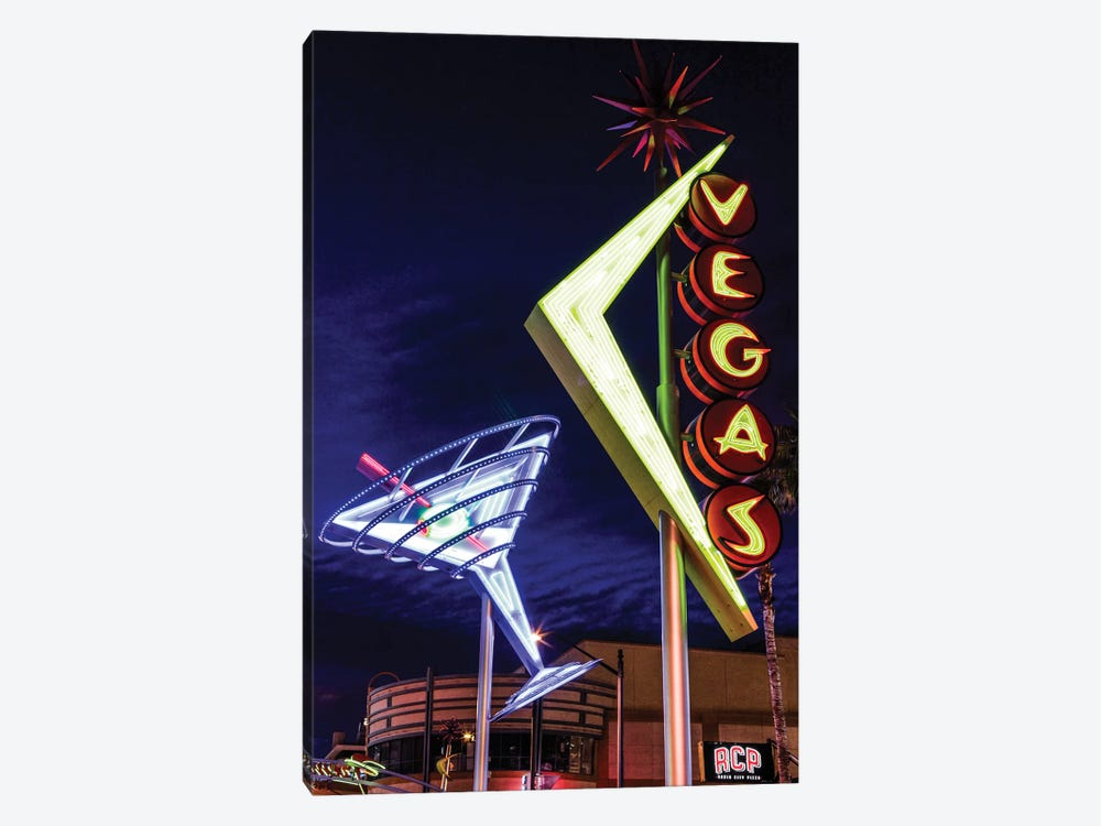Neon Martini Glass And Vegas Signs At Night, Fremont East Entertainment District, Las Vegas, Nevada, USA by Julien McRoberts 1-piece Canvas Print