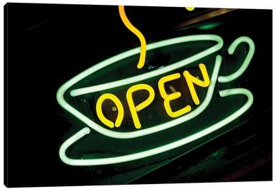 """Neon """"Open"""" Coffee Shop Sign, U.S. Route 66, Albuquerque, New Mexico, USA Canvas Print #JMC2"""