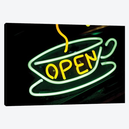 "Neon ""Open"" Coffee Shop Sign, U.S. Route 66, Albuquerque, New Mexico, USA Canvas Print #JMC2} by Julien McRoberts Art Print"