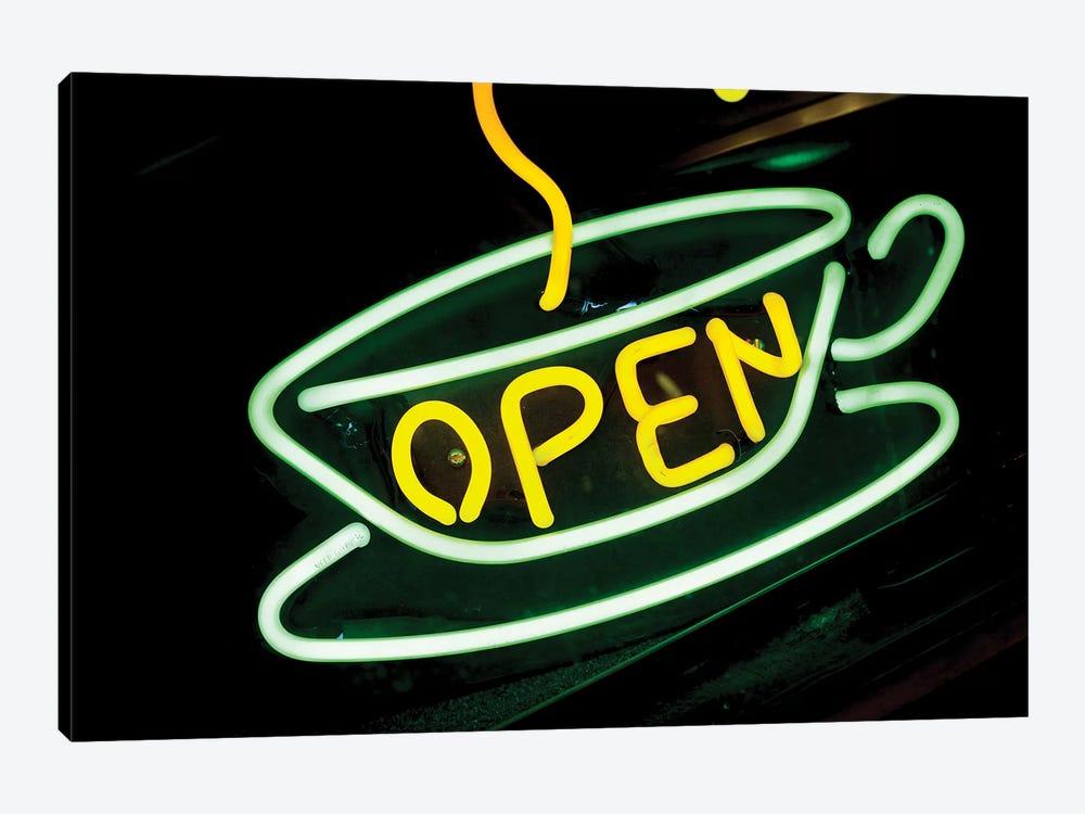"Neon ""Open"" Coffee Shop Sign, U.S. Route 66, Albuquerque, New Mexico, USA by Julien McRoberts 1-piece Canvas Art"