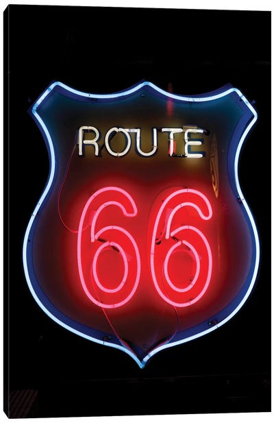 Neon U.S. Route 66 Sign, Albuquerque, New Mexico, USA Canvas Art Print