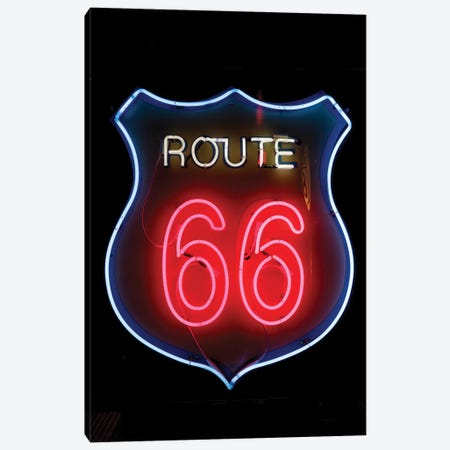 Neon U.S. Route 66 Sign, Albuquerque, New Mexico, USA Canvas Print #JMC3} by Julien McRoberts Canvas Art Print
