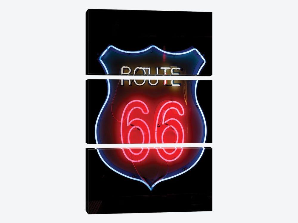 Neon U.S. Route 66 Sign, Albuquerque, New Mexico, USA by Julien McRoberts 3-piece Canvas Art Print