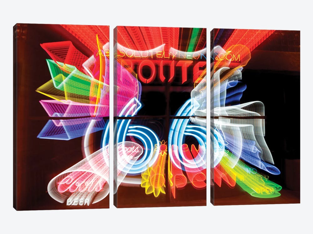 Neon Sign Window Display, Albuquerque, New Mexico, USA by Julien McRoberts 3-piece Canvas Wall Art