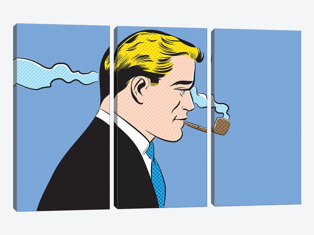 Man Smoking A Pipe by Joseph McDermott 3-piece Art Print