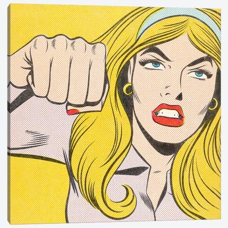 Woman Punching Canvas Print #JMD38} by Joseph McDermott Canvas Artwork