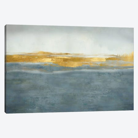 Linear Gold on Azure Canvas Print #JME38} by Jake Messina Canvas Art Print