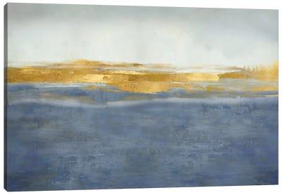 Linear Gold on Blue Canvas Art Print