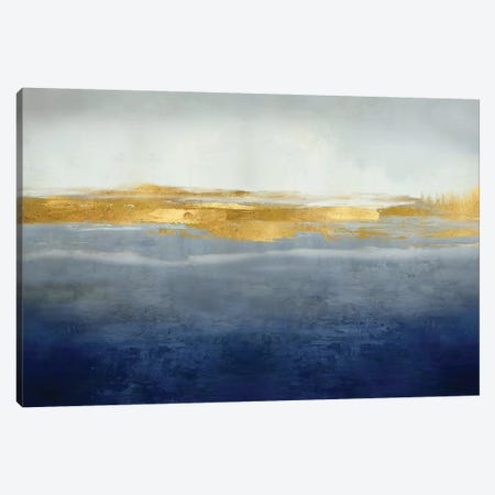 Linear Gold on Indigo Canvas Print #JME41} by Jake Messina Canvas Artwork