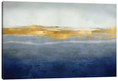 Linear Gold on Indigo Canvas Art Print