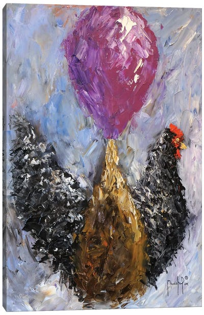 Rooster With Balloon Canvas Art Print