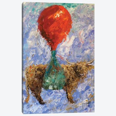 Steer With Balloon Canvas Print #JMF34} by Joseph Marshal Foster Art Print