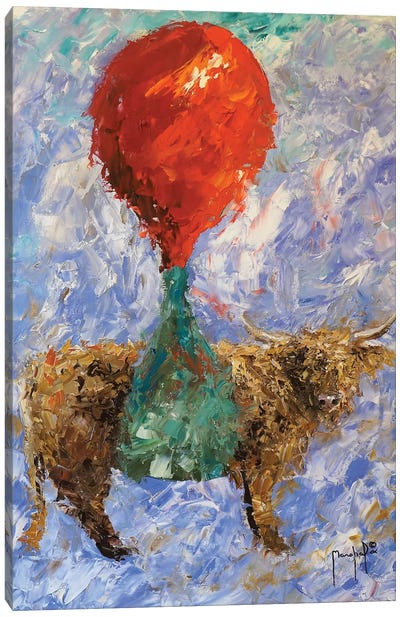 Steer With Balloon Canvas Art Print