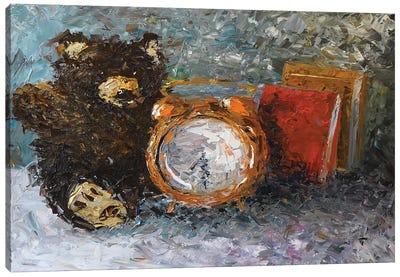 Teddy Bear With Clock Canvas Art Print