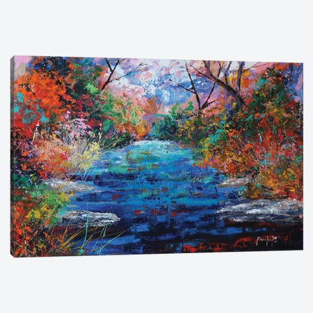 Autumn Pond Canvas Print #JMF6} by Joseph Marshal Foster Canvas Art Print