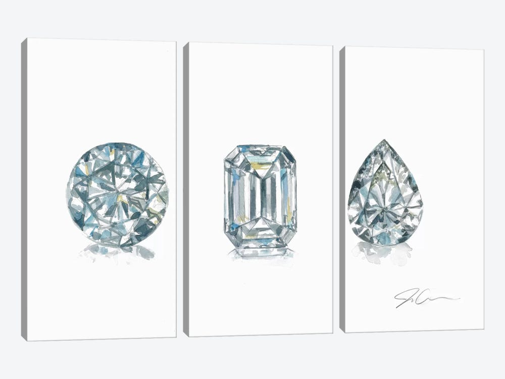 Diamonds by Jackie Graham 3-piece Canvas Artwork