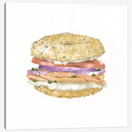 Lox Bagel 3-Piece Canvas #JMG19} by Jackie Graham Art Print