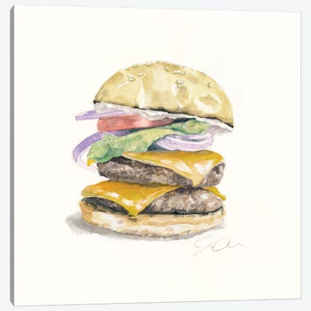 Cheeseburger Canvas Print #JMG7} by Jackie Graham Canvas Artwork