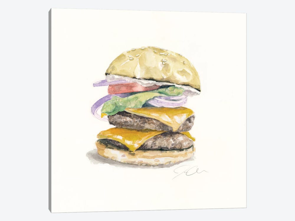 Cheeseburger by Jackie Graham 1-piece Canvas Art Print