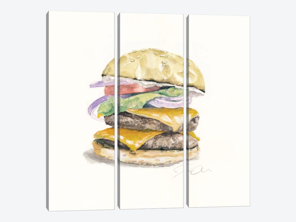 Cheeseburger by Jackie Graham 3-piece Canvas Print