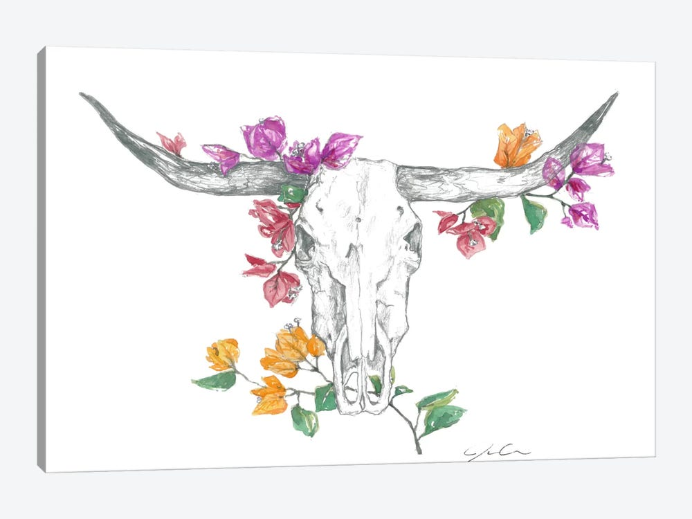 Cow Skull II by Jackie Graham 1-piece Canvas Art Print