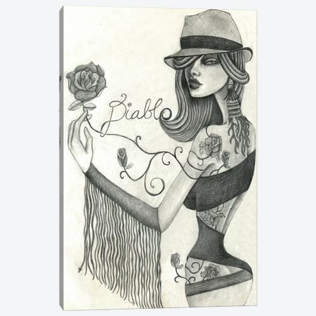 Diablo (Drawing) Canvas Print #JMI16} by Jami Goddess Canvas Artwork