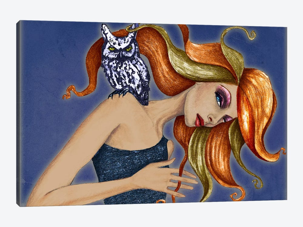 Girl With Owl by Jami Goddess 1-piece Canvas Artwork