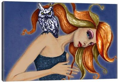 Girl With Owl Canvas Art Print