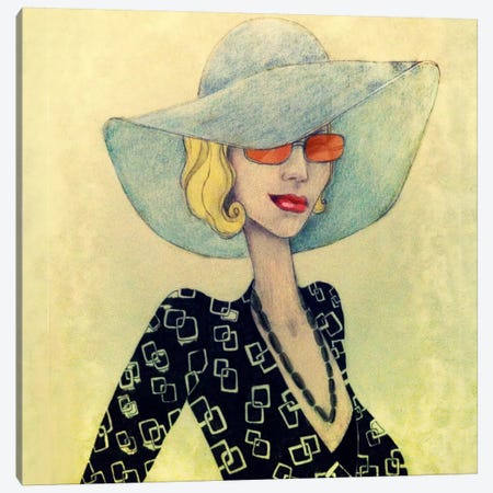 Lady With Hat Canvas Print #JMI29} by Jami Goddess Canvas Wall Art
