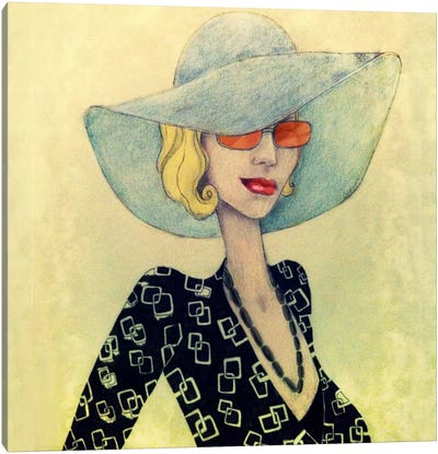 Lady With Hat Canvas Art Print