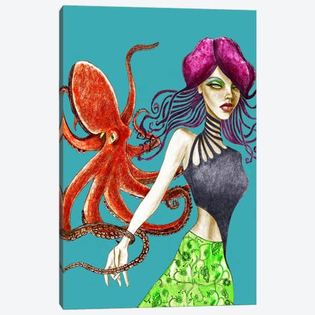 Octopus Canvas Print #JMI42} by Jami Goddess Canvas Wall Art