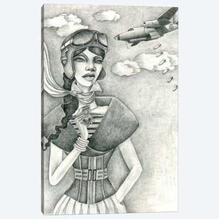 The Aviator (Drawing) Canvas Print #JMI61} by Jami Goddess Canvas Wall Art