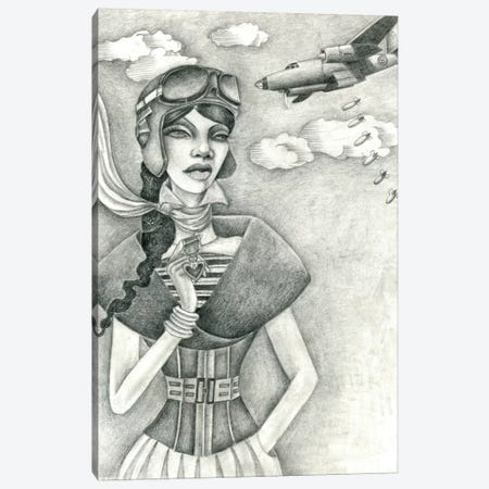 The Aviator (Drawing) Canvas Print #JMI61} by Jami Goddess Canvas Wall Art