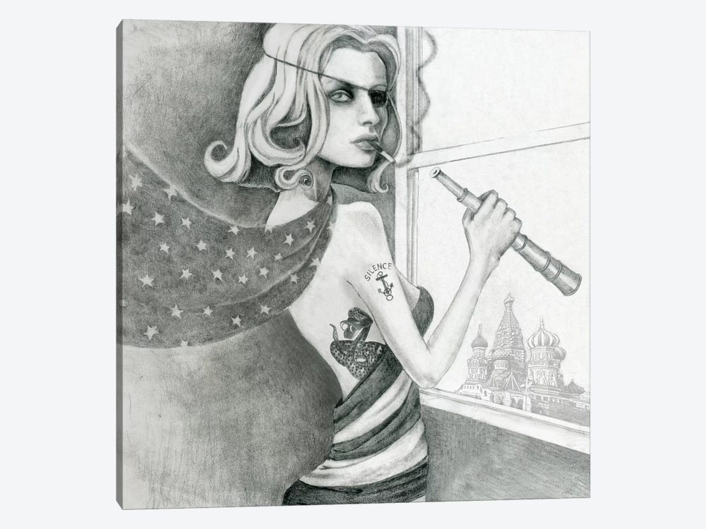 The Spy (Drawing) by Jami Goddess 1-piece Canvas Wall Art