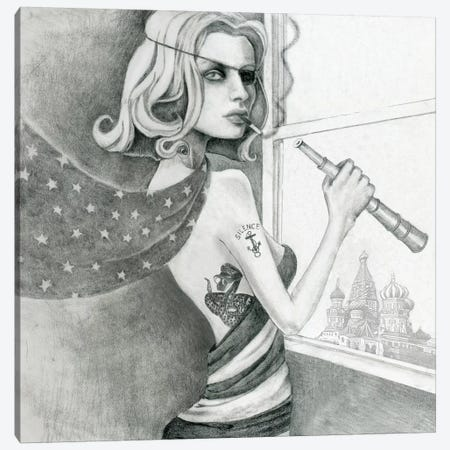 The Spy (Drawing) Canvas Print #JMI64} by Jami Goddess Canvas Art Print