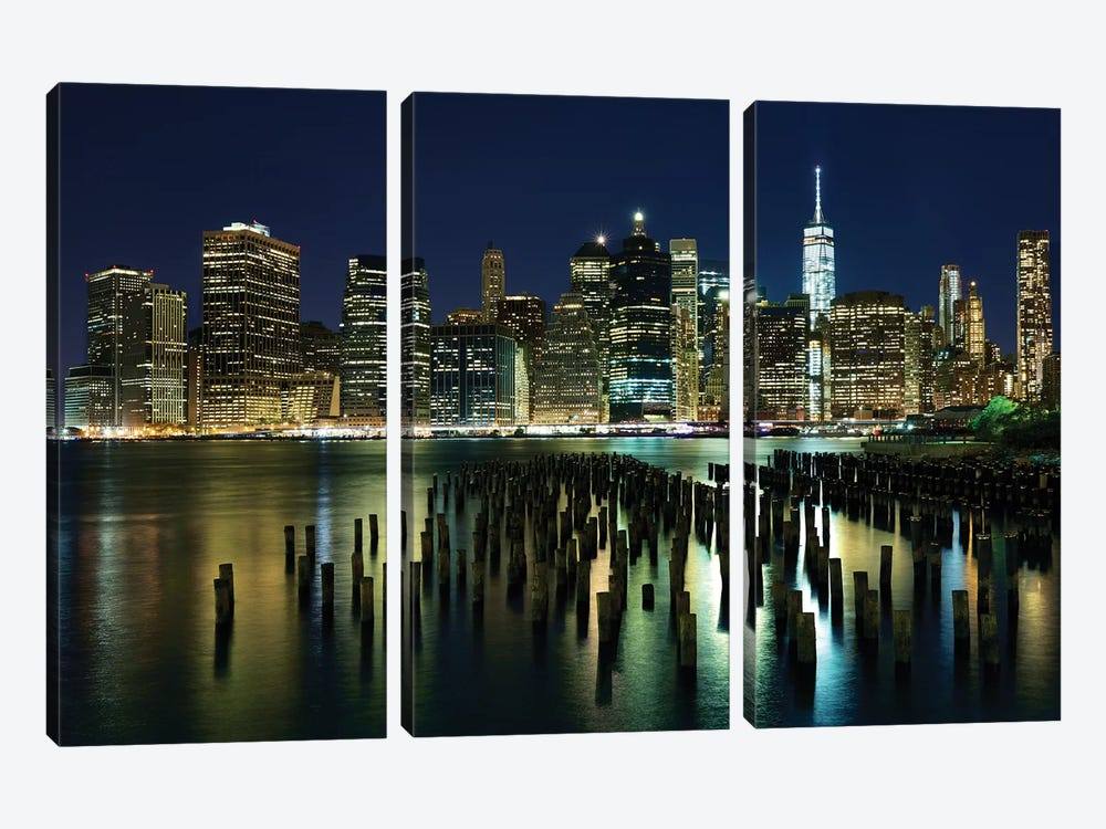 New York At Night VII by James McLoughlin 3-piece Canvas Wall Art