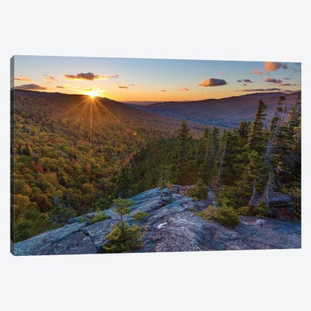 Sunset as seen from Dome Rock in New Hampshire's White Mountain National Forest. Canvas Print #JMM10} by Jerry & Marcy Monkman Art Print